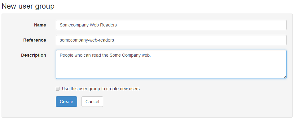 Creating a new user group