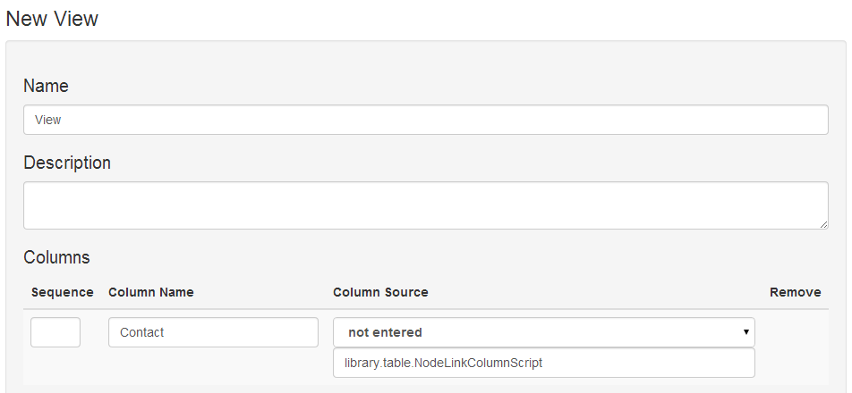 Adding the Node Link Column Script to a view to provide a link called Contacts to the nodes in the table